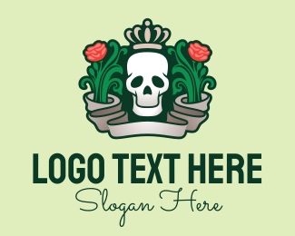 Dia De Los Muertos - Queen Rose Death Skull logo design
