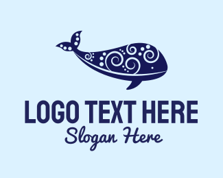 Swirly - Whale Art logo design