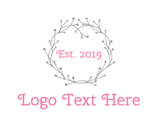 Grey Flower - Grey Wreath logo design