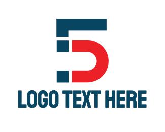 Tv Channel - Blue Red Number 5 logo design