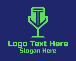 Twitch - Green Letter T Microphone  logo design