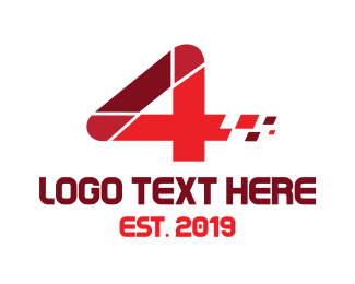 Gran Turismo - Red Data Number 4 logo design