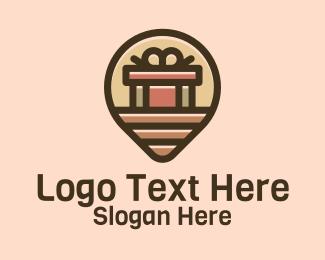 Gift Factory Location Pin logo design