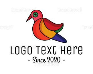 Bird House - Colorful Sparrow Outline logo design