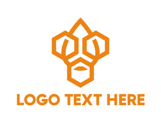 Orange Hexagon - Industrial Hexagon Drop logo design