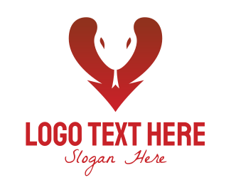 Snake - Heart Arrow Snake  logo design