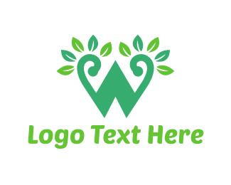 Teeth - Green W Letter  logo design