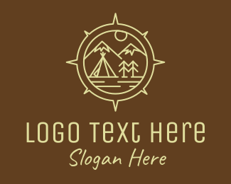 Camper - Outdoor Camping Compass logo design