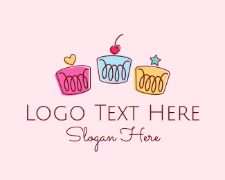 Cute Birthday Cupcakes logo design
