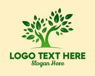 Revitalize - Green Gardener Hands logo design