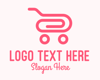 Convenience Store - Pink Paper Clip Cart logo design