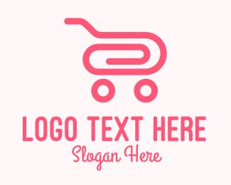 Mart - Pink Paper Clip Cart logo design