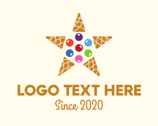 Cone - Ice Cream Star logo design