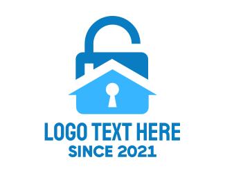 Burglar Alarm - House Padlock logo design