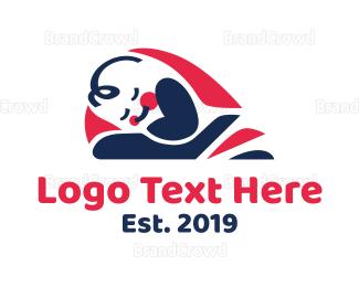 Bed - Baby Sleep logo design