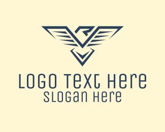 Initial - Blue Eagle Letter R logo design