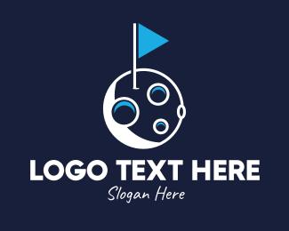 Space Exploration - Moon Flagstick logo design