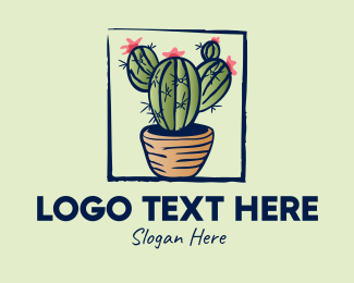 Flowers - Cactus Pot Plant logo design