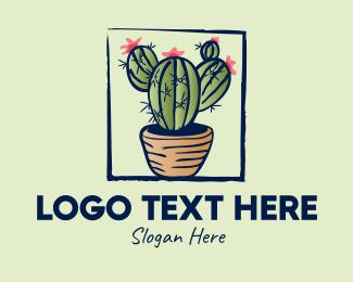 Plant - Cactus Pot Plant logo design
