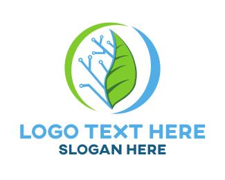 Agritech - Circuit Leaf logo design