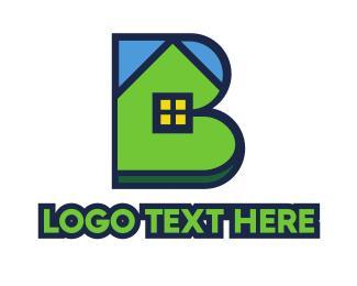 Land Developer - Blue Green House B logo design
