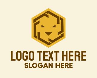 Bravery - Hexagon Lion Head  logo design