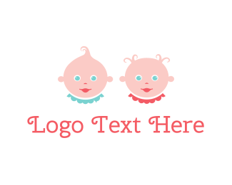 Gender - Baby Twins logo design