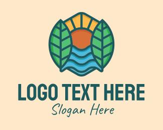 Natural Park - Nature Sunshine Leaves  logo design