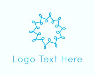 Meditate - Abstract Blue Flower  logo design