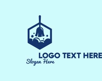 Wash - Clean Broom Wash  logo design