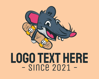 Cartoon - Skateboard Skater Rat logo design