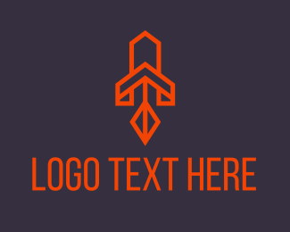Space - Orange Space Rocket logo design