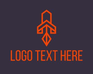 Space - Orange Space Rocket logo design