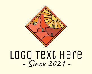 Road Trip - Sunshine Desert Stained Glass logo design