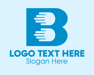 Inclusivity - Blue Hand Letter B logo design