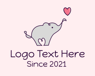 Nursery - Love Heart Elephant logo design