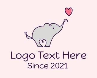 Love Heart Elephant logo design