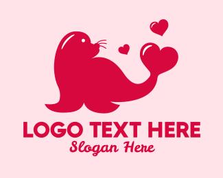 Hearts - Red Love Seal  logo design