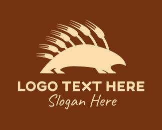 Hedgehog - Wild Fork Porcupine logo design