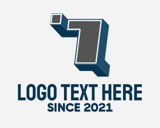 7 - 3D Graffiti Number 7 logo design