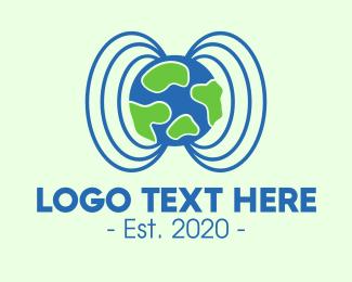 World - Plant Earth Soundwave Globe logo design