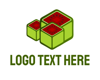 Red Watermelon - Watermelon Cubes logo design