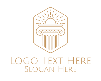 Rising Sun - Elegant Greek Pillar logo design