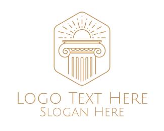 Elegant Greek Pillar logo design