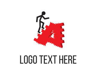 Letter A - Man & Ladders logo design