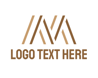 Stripes - Brown M Stripes logo design