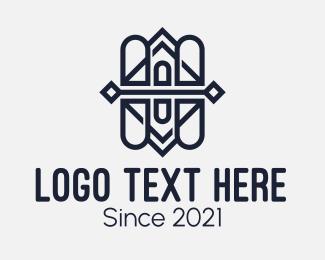 Symmetric - Black Pattern Line Art logo design