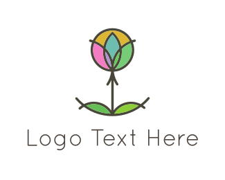 Grass - Circles & Flower logo design