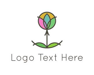 Retreat - Circles & Flower logo design