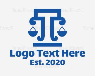 Equilibrium - Bold Letter T Scale logo design
